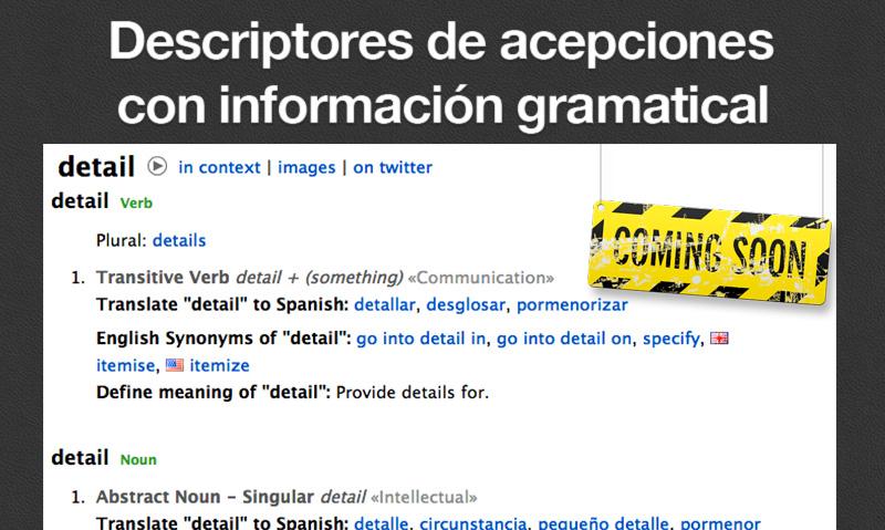 Descriptores gramaticales de cada acepción