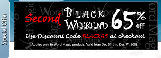 65% discount in all our products - Second Black Weekend Sale